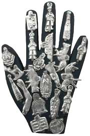 Hand Wall Amulet Covered with Milagros